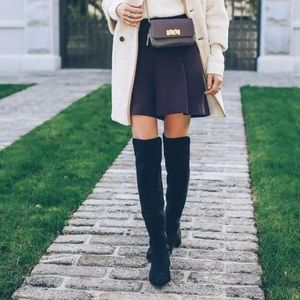 French Connection over the knee black suede boots